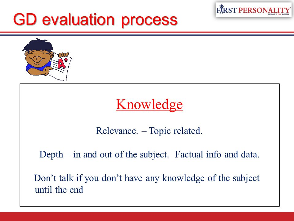 Knowledge Relevance.– Topic related. Depth – in and out of the subject.