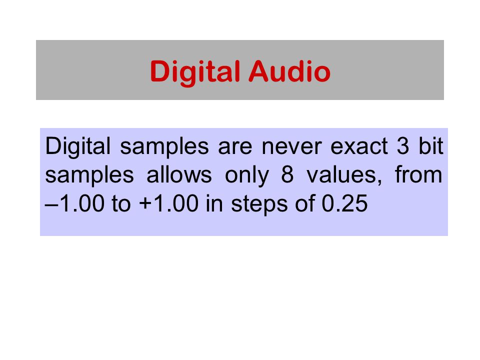 Digital Audio Digital samples are never exact 3 bit samples allows only 8 values, from –1.00 to +1.00 in steps of 0.25