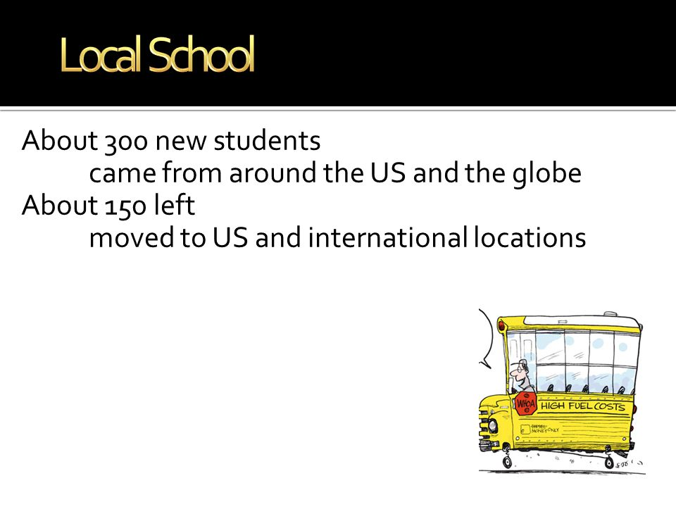 About 300 new students came from around the US and the globe About 150 left moved to US and international locations