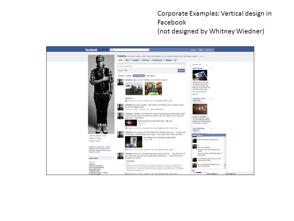 Corporate Examples: Vertical design in Facebook (not designed by Whitney Wiedner)
