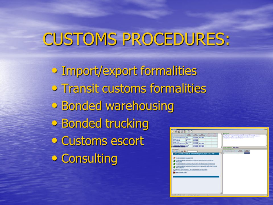 CUSTOMS PROCEDURES: Import/export formalities Transit customs formalities Bonded warehousing Bonded trucking Customs escort Consulting