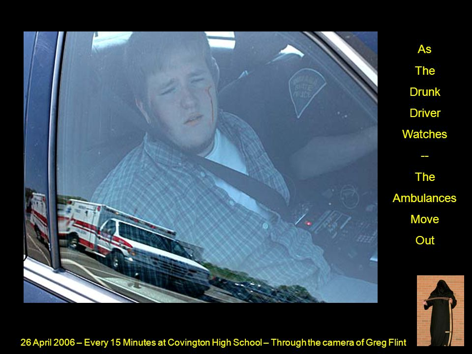 26 April 2006 – Every 15 Minutes at Covington High School – Through the camera of Greg Flint As The Drunk Driver Watches -- The Ambulances Move Out