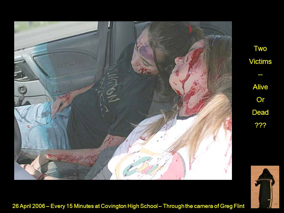 26 April 2006 – Every 15 Minutes at Covington High School – Through the camera of Greg Flint The Passenger Of The Drunk Driver -- In The Airbag
