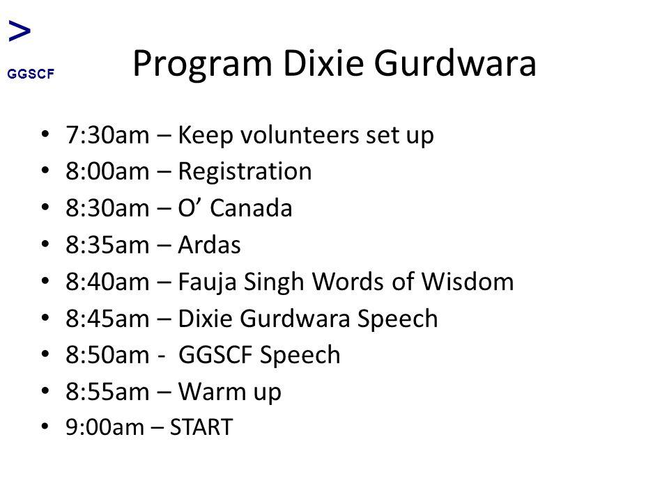 Program Dixie Gurdwara 7:30am – Keep volunteers set up 8:00am – Registration 8:30am – O' Canada 8:35am – Ardas 8:40am – Fauja Singh Words of Wisdom 8:45am – Dixie Gurdwara Speech 8:50am - GGSCF Speech 8:55am – Warm up 9:00am – START > GGSCF