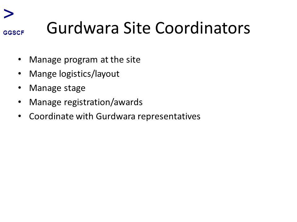 Gurdwara Site Coordinators Manage program at the site Mange logistics/layout Manage stage Manage registration/awards Coordinate with Gurdwara represen
