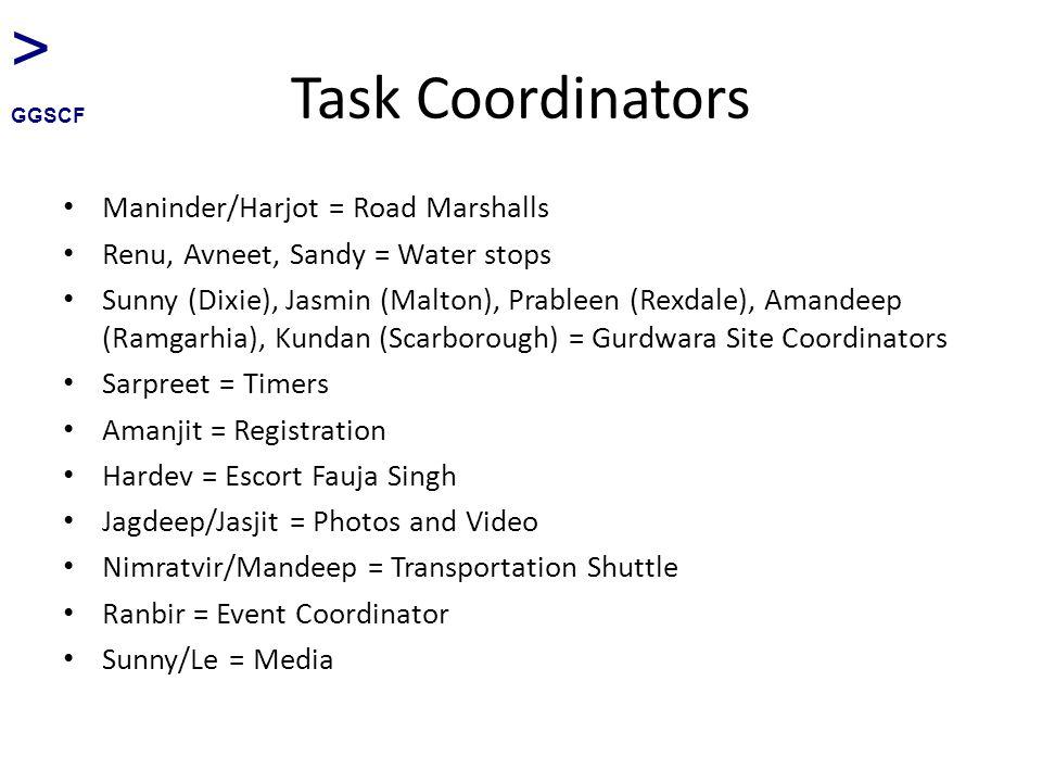 Task Coordinators Maninder/Harjot = Road Marshalls Renu, Avneet, Sandy = Water stops Sunny (Dixie), Jasmin (Malton), Prableen (Rexdale), Amandeep (Ramgarhia), Kundan (Scarborough) = Gurdwara Site Coordinators Sarpreet = Timers Amanjit = Registration Hardev = Escort Fauja Singh Jagdeep/Jasjit = Photos and Video Nimratvir/Mandeep = Transportation Shuttle Ranbir = Event Coordinator Sunny/Le = Media > GGSCF