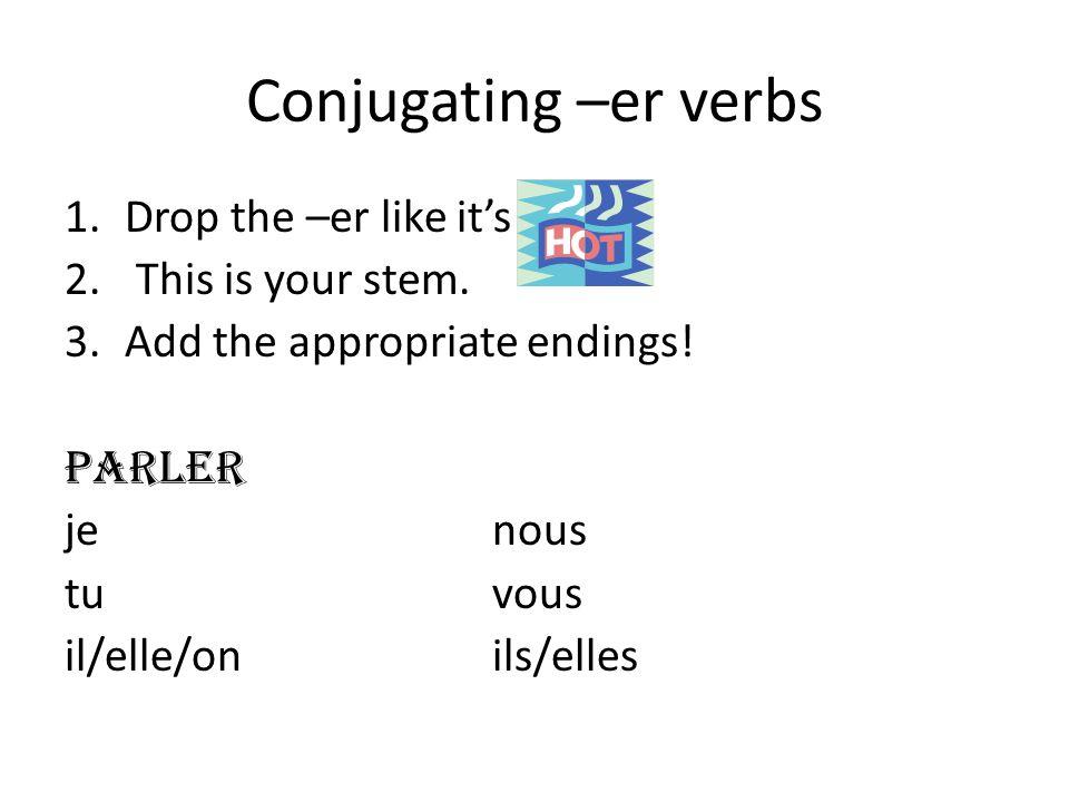 Conjugating –er verbs 1.Drop the –er like it's 2. This is your stem. 3.Add the appropriate endings! parler je nous tu vous il/elle/on ils/elles