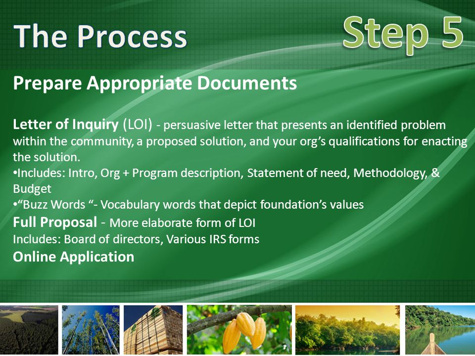 Prepare Appropriate Documents Letter of Inquiry (LOI) - persuasive letter that presents an identified problem within the community, a proposed solution, and your org's qualifications for enacting the solution.