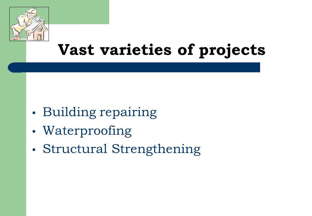 Building repairing Waterproofing Structural Strengthening Vast varieties of projects