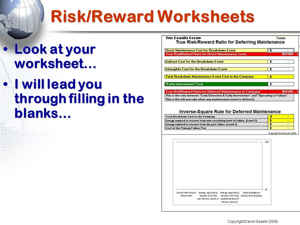 Risk/Reward Worksheets Look at your worksheet…Look at your worksheet… I will lead you through filling in the blanks…I will lead you through filling in the blanks… Copyright David Geaslin 2008