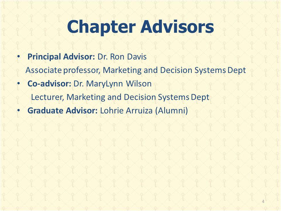 Chapter Advisors Principal Advisor: Dr. Ron Davis Associate professor, Marketing and Decision Systems Dept Co-advisor: Dr. MaryLynn Wilson Lecturer, M