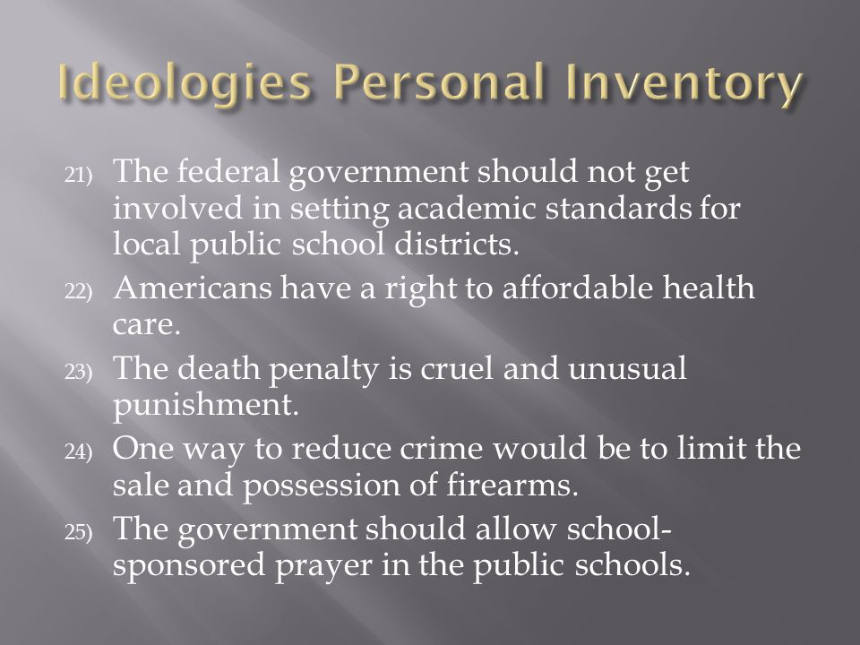 21) The federal government should not get involved in setting academic standards for local public school districts. 22) Americans have a right to affo