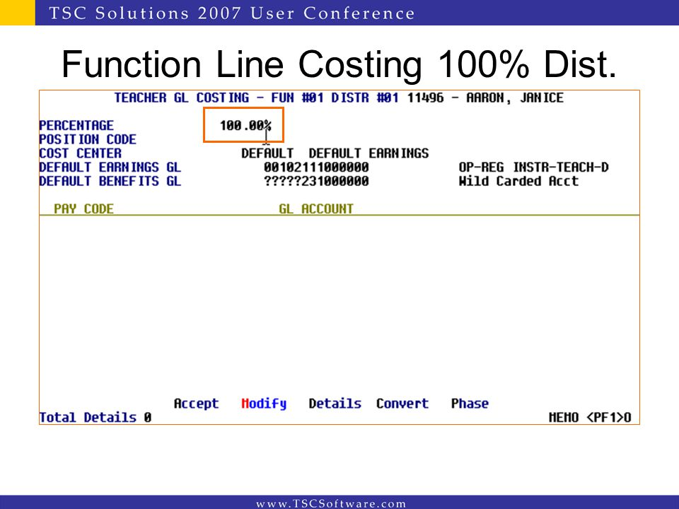 Function Line Costing 100% Dist.