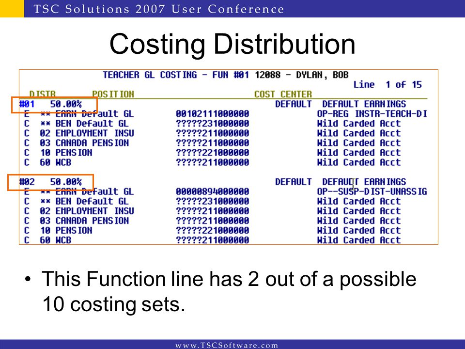 Costing Distribution This Function line has 2 out of a possible 10 costing sets.