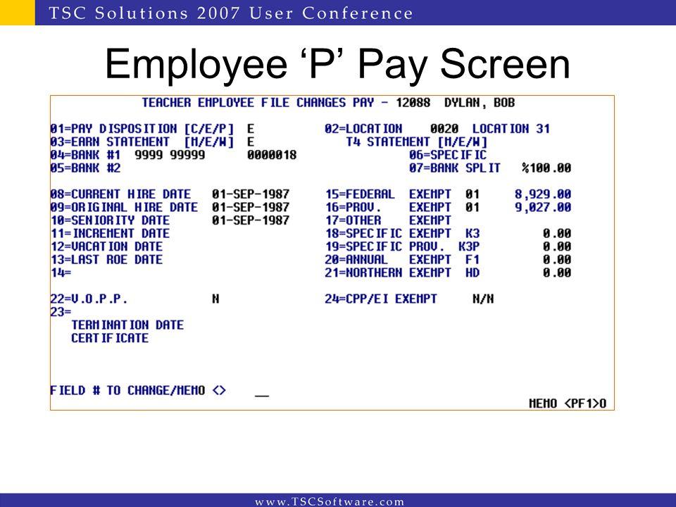 Employee 'P' Pay Screen