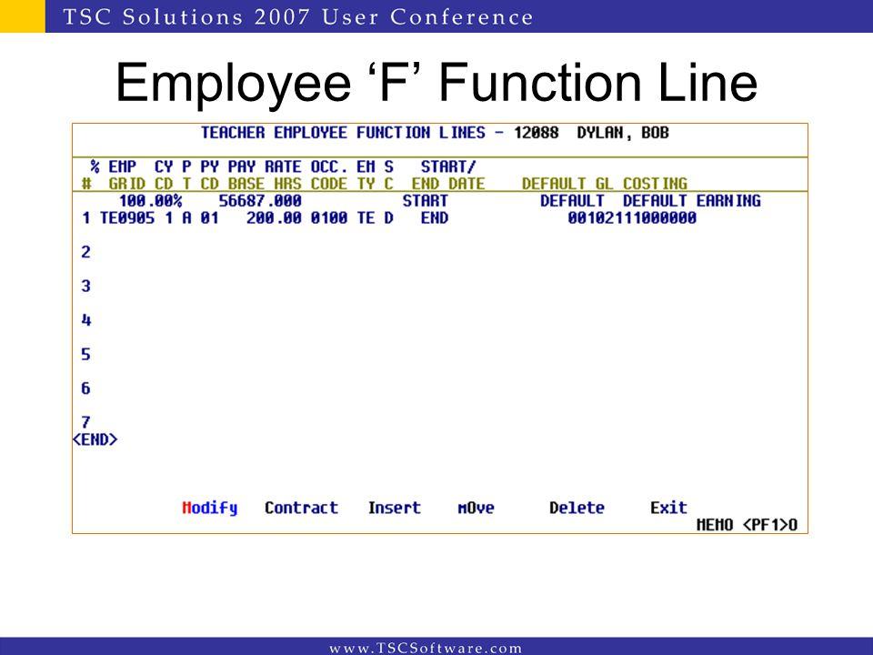 Employee 'F' Function Line