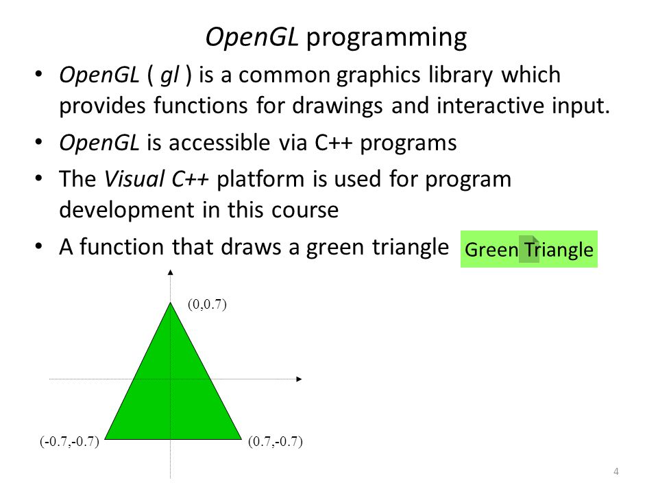 4 OpenGL programming OpenGL ( gl ) is a common graphics library which provides functions for drawings and interactive input. OpenGL is accessible via