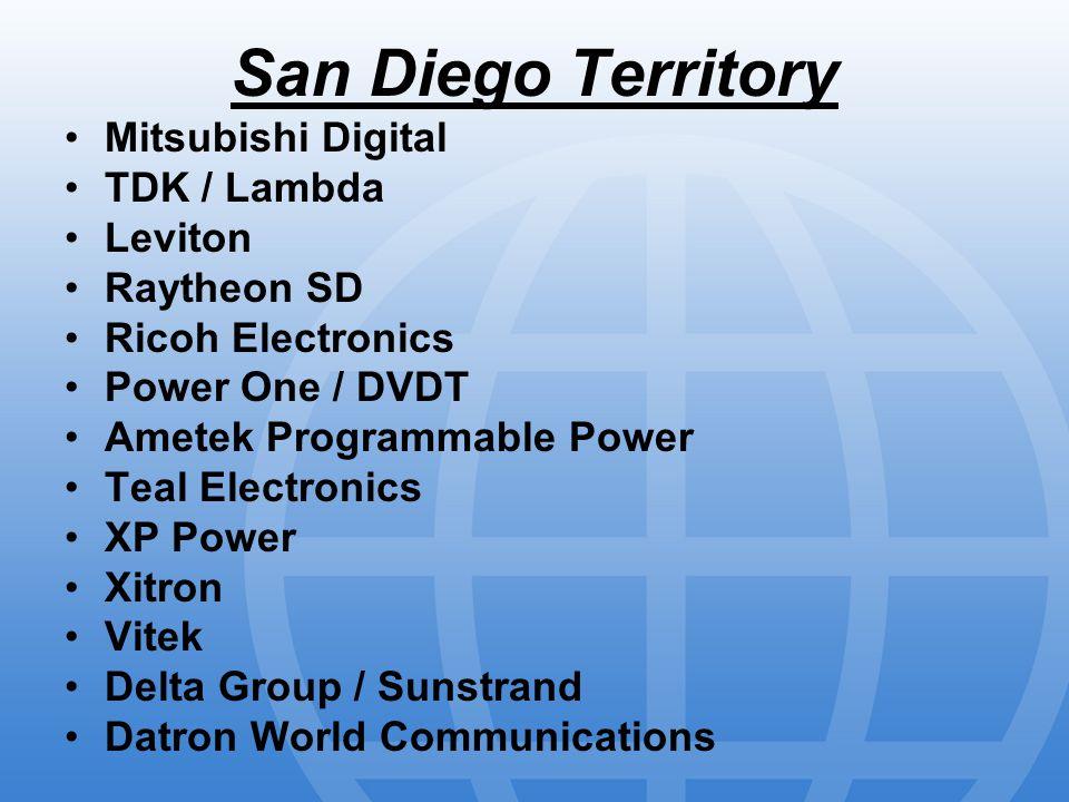 San Diego Territory Mitsubishi Digital TDK / Lambda Leviton Raytheon SD Ricoh Electronics Power One / DVDT Ametek Programmable Power Teal Electronics XP Power Xitron Vitek Delta Group / Sunstrand Datron World Communications