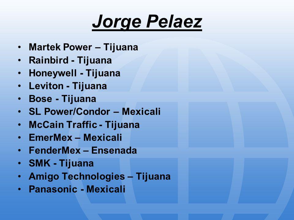 Jorge Pelaez Martek Power – Tijuana Rainbird - Tijuana Honeywell - Tijuana Leviton - Tijuana Bose - Tijuana SL Power/Condor – Mexicali McCain Traffic - Tijuana EmerMex – Mexicali FenderMex – Ensenada SMK - Tijuana Amigo Technologies – Tijuana Panasonic - Mexicali