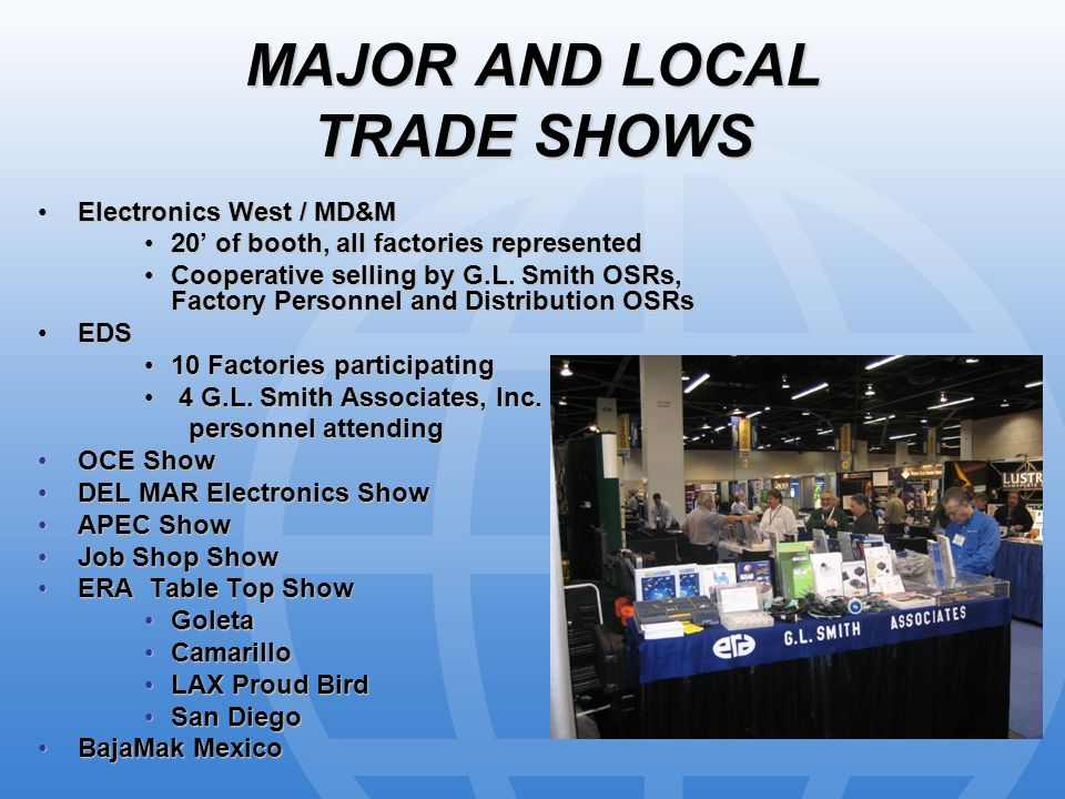MAJOR AND LOCAL TRADE SHOWS Electronics West / MD&MElectronics West / MD&M 20' of booth, all factories represented20' of booth, all factories represented Cooperative selling by G.L.