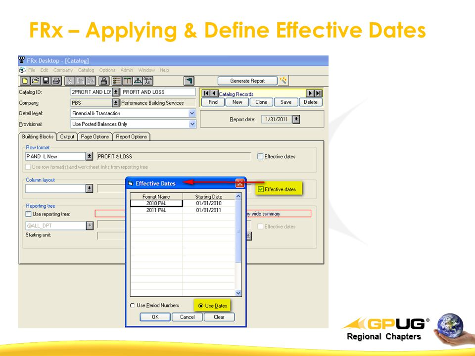 Regional Chapters FRx – Applying & Define Effective Dates