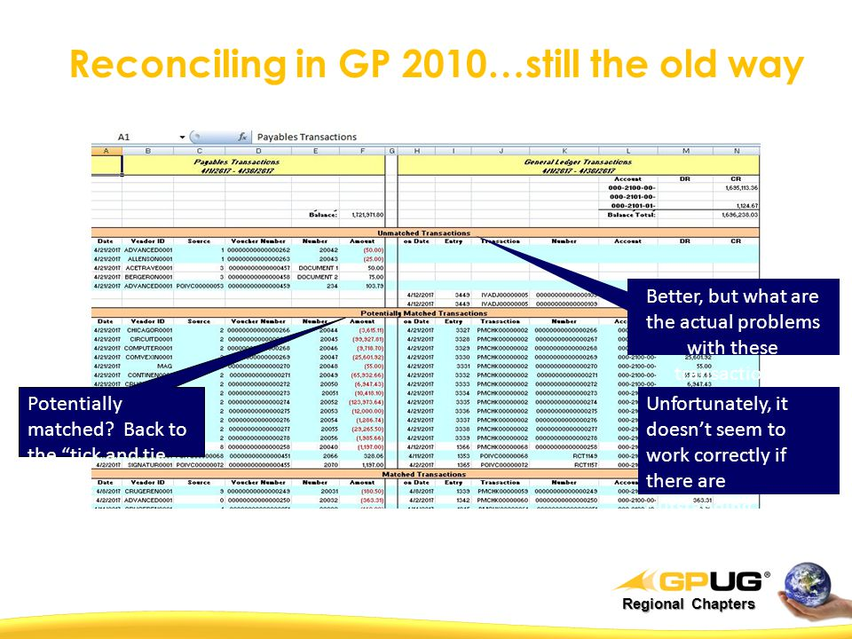 Regional Chapters Reconciling in GP 2010…still the old way Potentially matched.