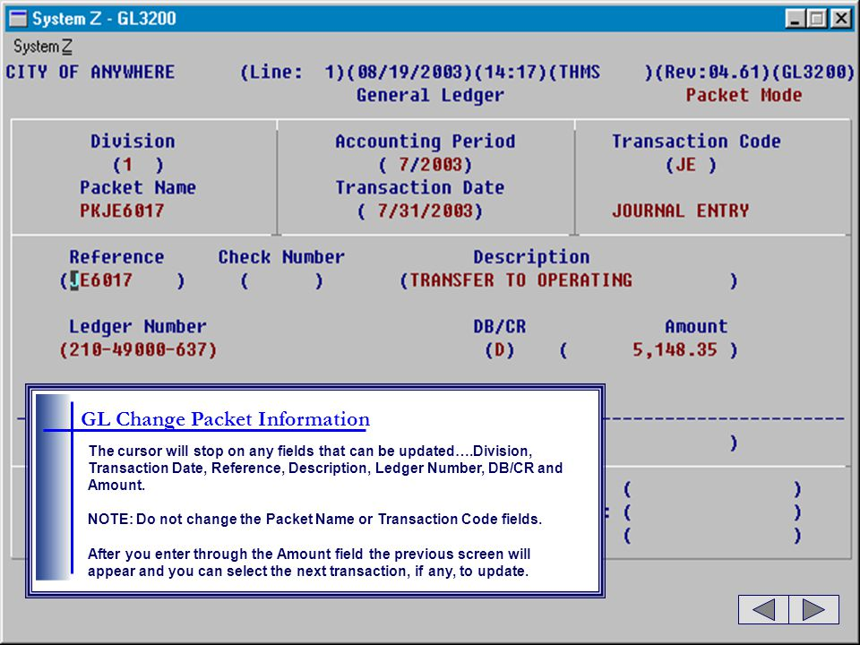 GL Change Packet Information The cursor will stop on any fields that can be updated….Division, Transaction Date, Reference, Description, Ledger Number, DB/CR and Amount.