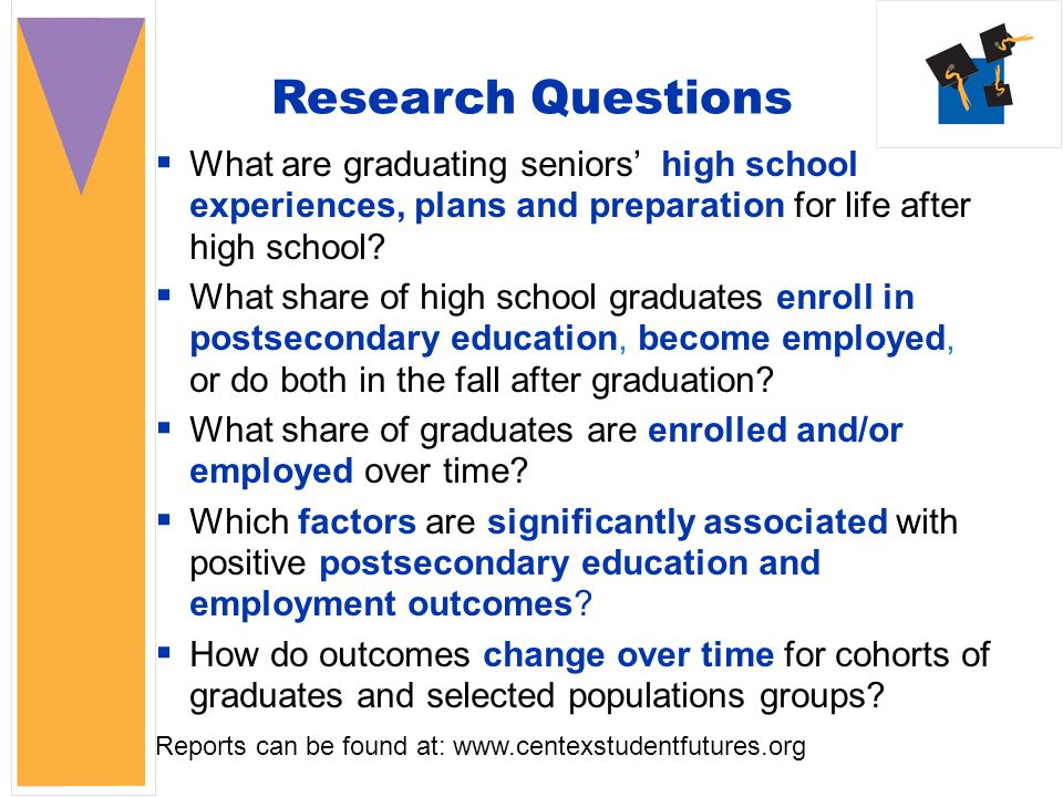 Research Questions  What are graduating seniors' high school experiences, plans and preparation for life after high school.