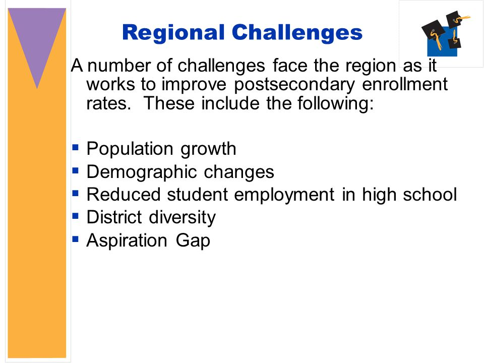 Regional Challenges A number of challenges face the region as it works to improve postsecondary enrollment rates.