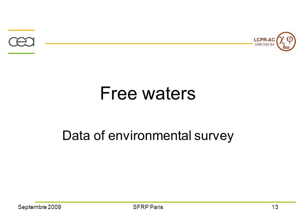 Septembre 2009SFRP Paris13 Free waters Data of environmental survey