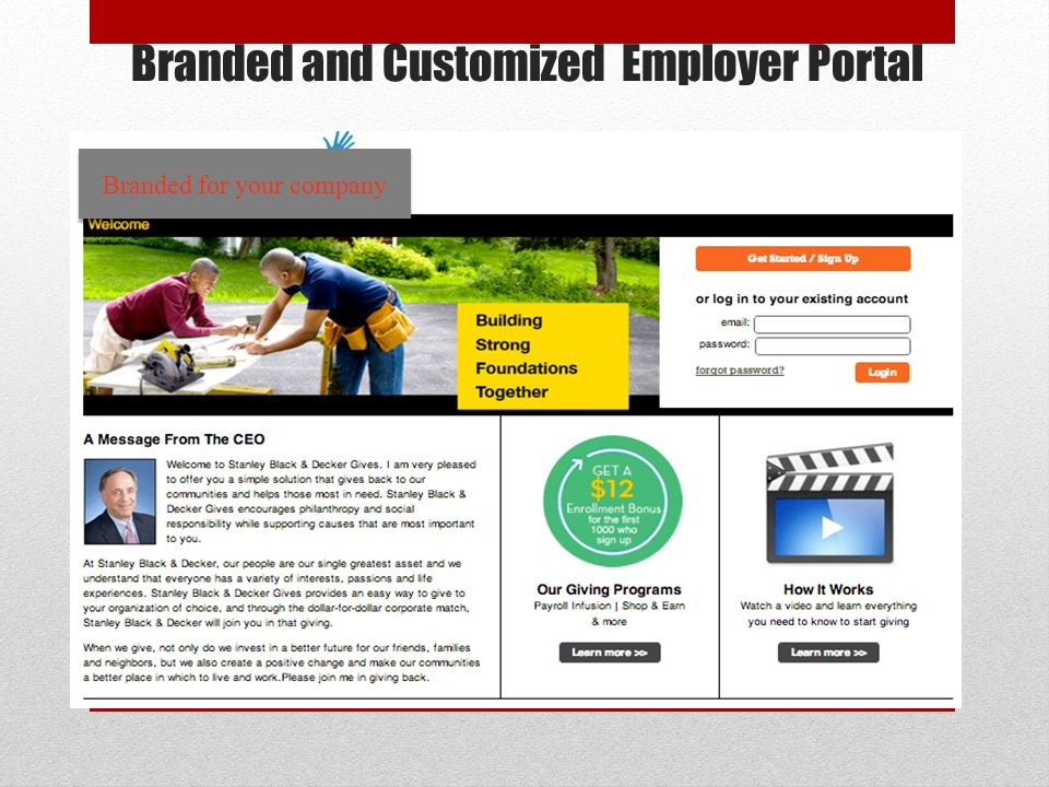 Branded and Customized Employer Portal Branded for your company