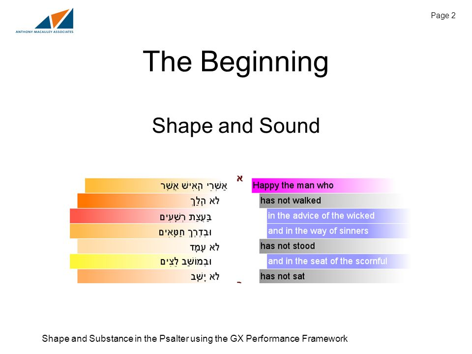 Shape and Substance in the Psalter using the GX Performance Framework Page 2 The Beginning Shape and Sound