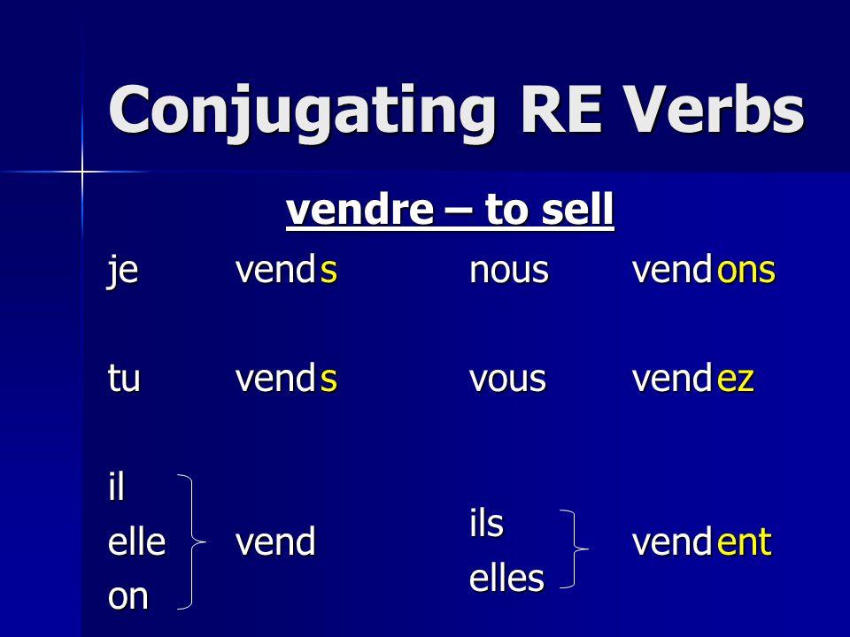 Conjugating RE Verbs jetuilelleonnousvousilselles vendre – to sell vendvendvendvendvendvendssonsezent