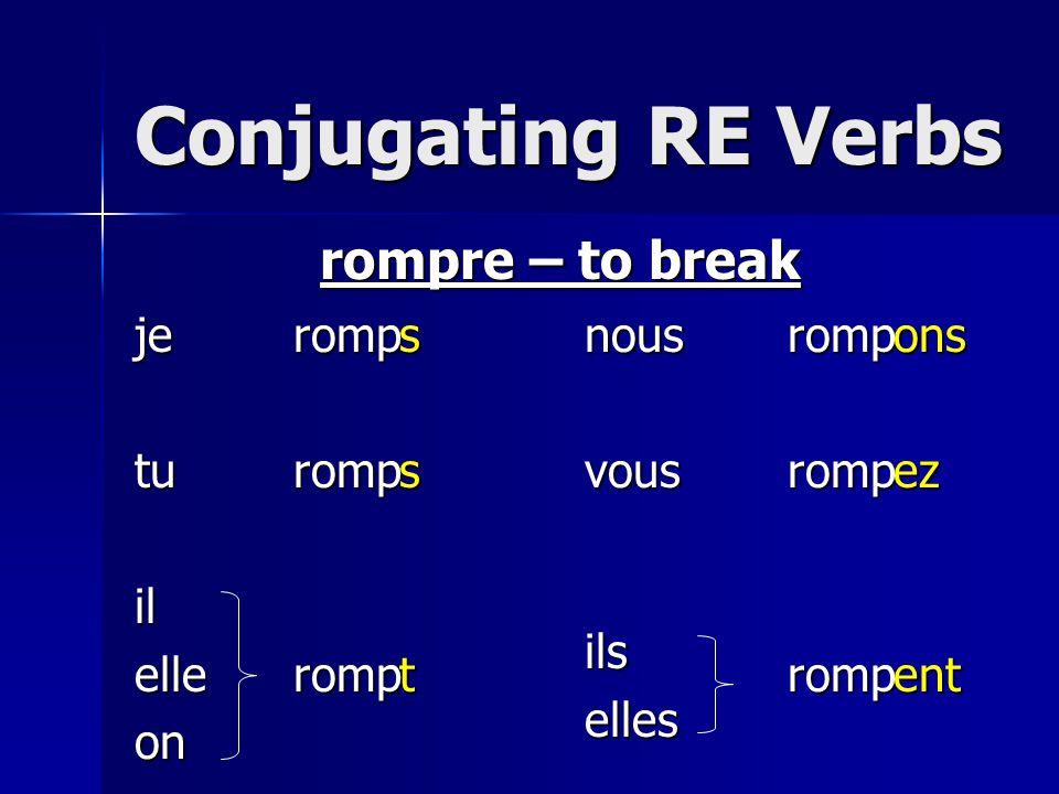Conjugating RE Verbs jetuilelleonnousvousilselles rompre – to break romp sstonsezent