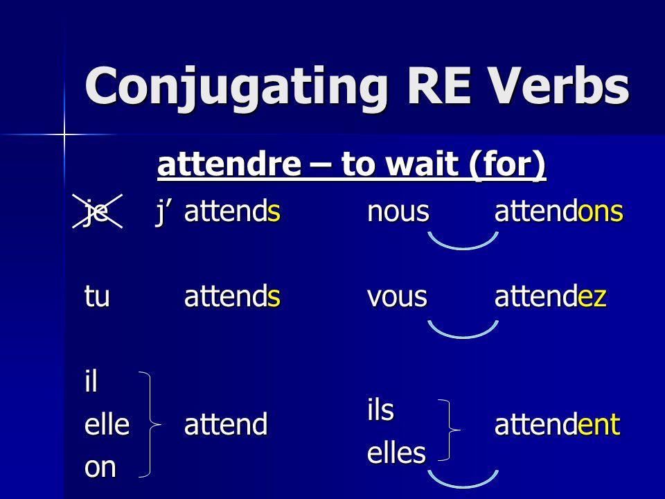 Conjugating RE Verbs jetuilelleonnousvousilselles attendre – to wait (for) attendattendattendattendattendattendssonsezentj'