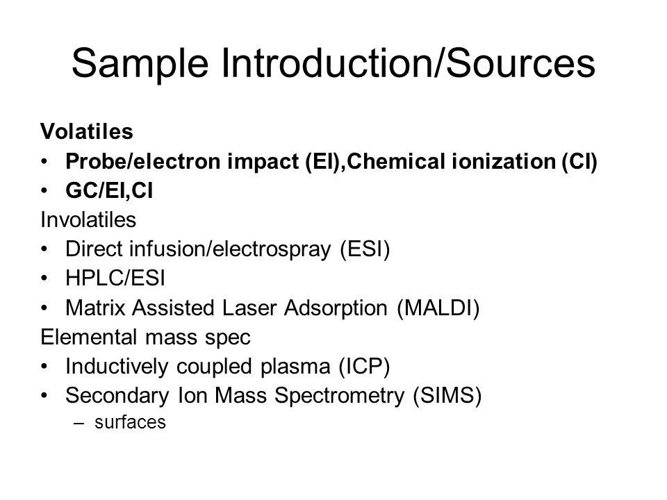 Sample Introduction/Sources Volatiles Probe/electron impact (EI),Chemical ionization (CI) GC/EI,CI Involatiles Direct infusion/electrospray (ESI) HPLC