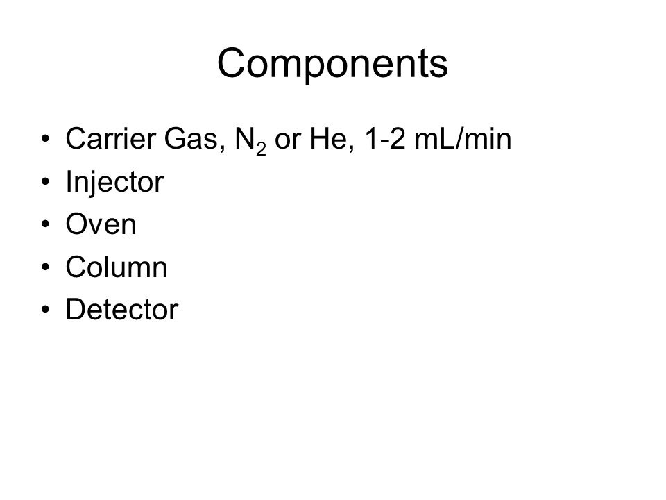 Components Carrier Gas, N 2 or He, 1-2 mL/min Injector Oven Column Detector
