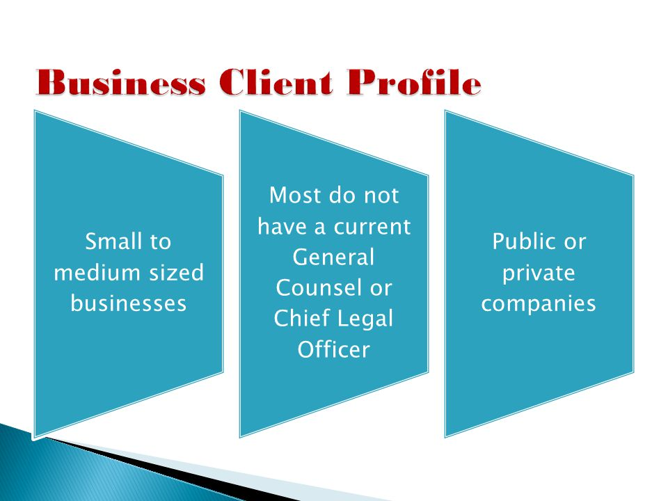 Small to medium sized businesses Most do not have a current General Counsel or Chief Legal Officer Public or private companies