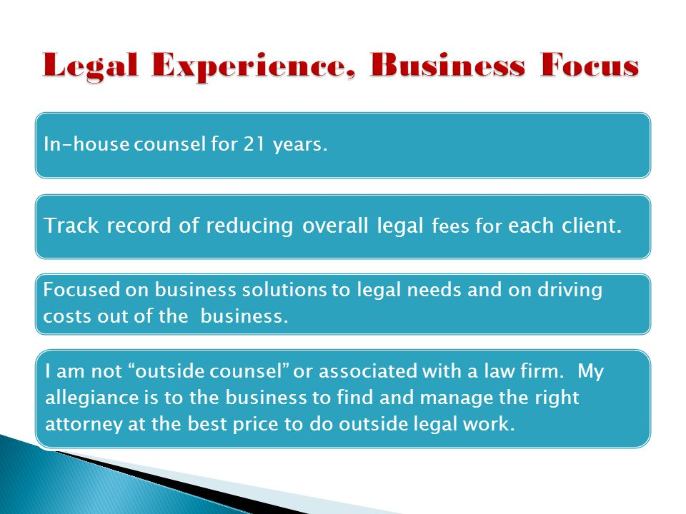 2009-Present Trusted GC integrating with businesses to provide management of legal needs.