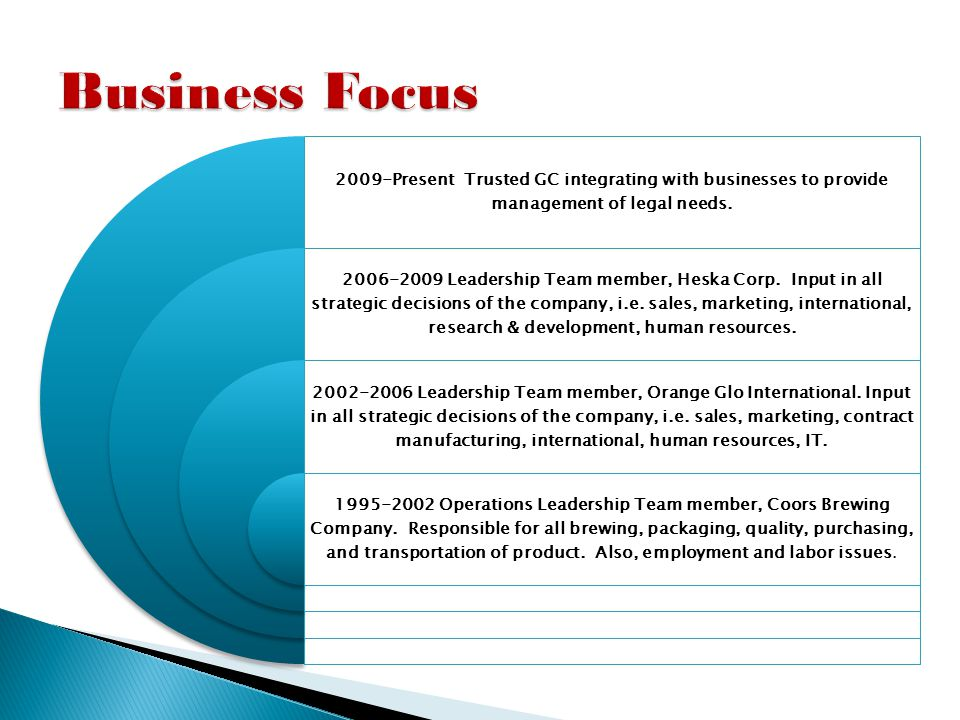 Heska Corp., 2006-2009.Vice President, General Counsel and Corporate Secretary.