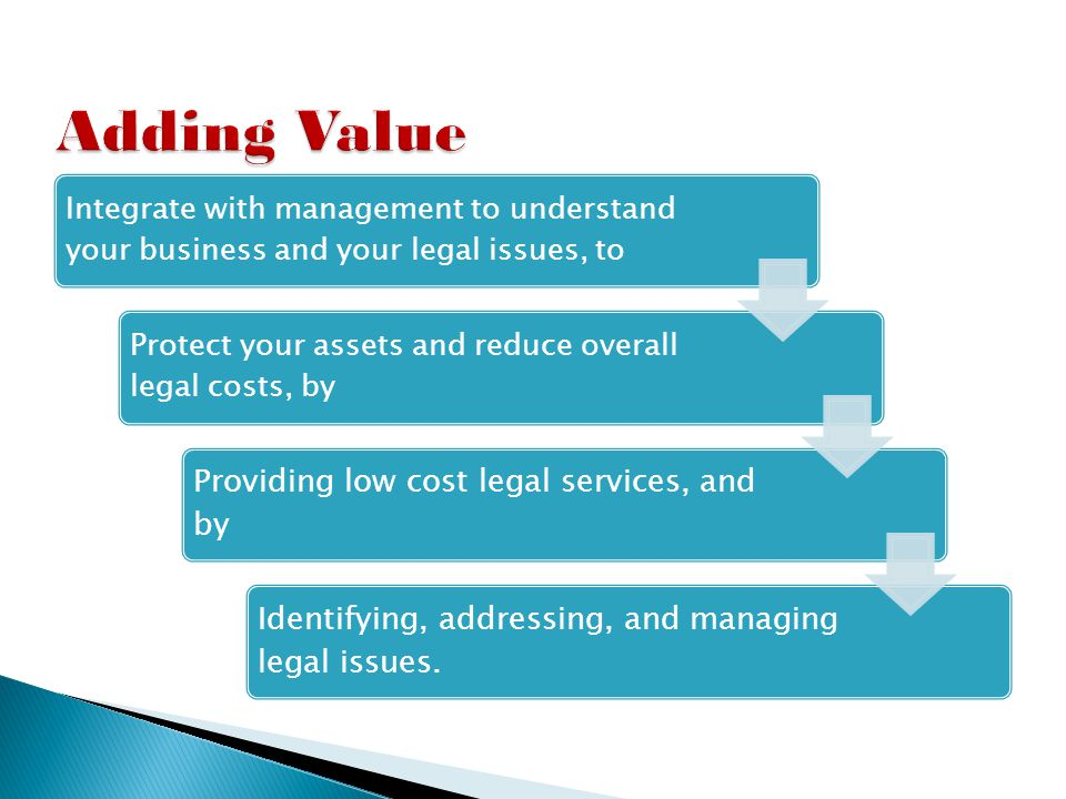 Trusted GC offers the following services to increase the value of your business by: Auditing the legal issues facing the company Obtaining, reviewing, and organizing contracts Identifying and protecting Intellectual Property Identifying and managing regulatory compliance requirements Reviewing policies and procedures to determine their need