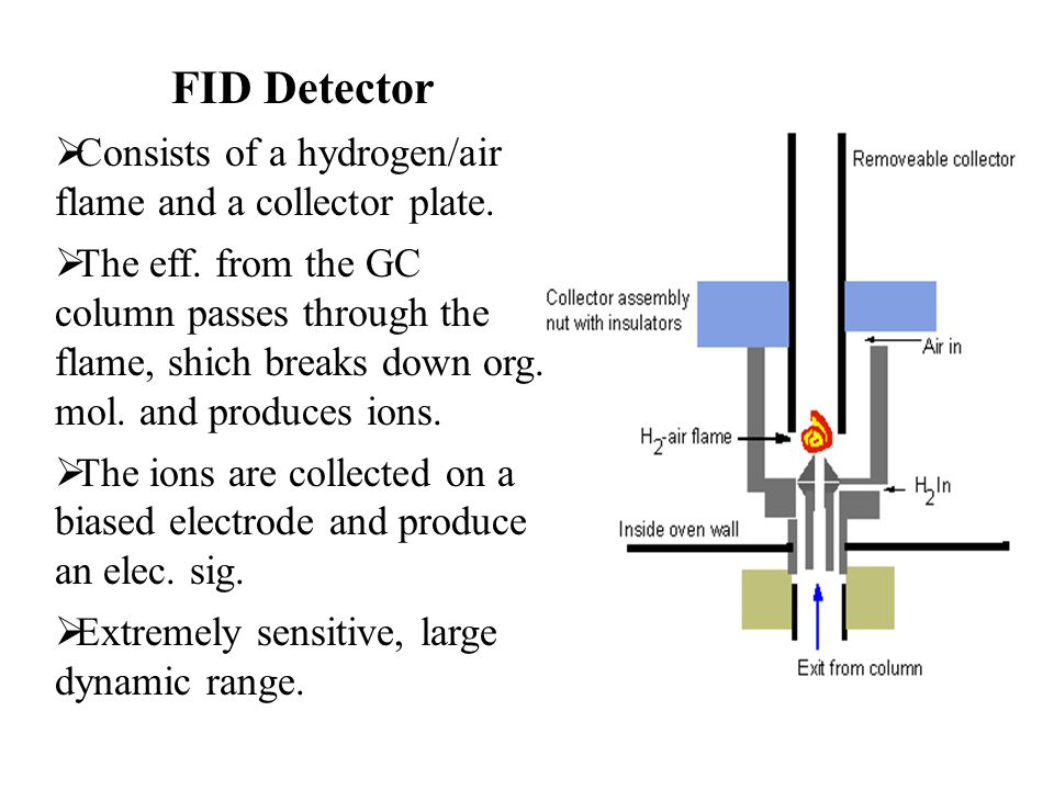 FID Detector  Consists of a hydrogen/air flame and a collector plate.  The eff. from the GC column passes through the flame, shich breaks down org.