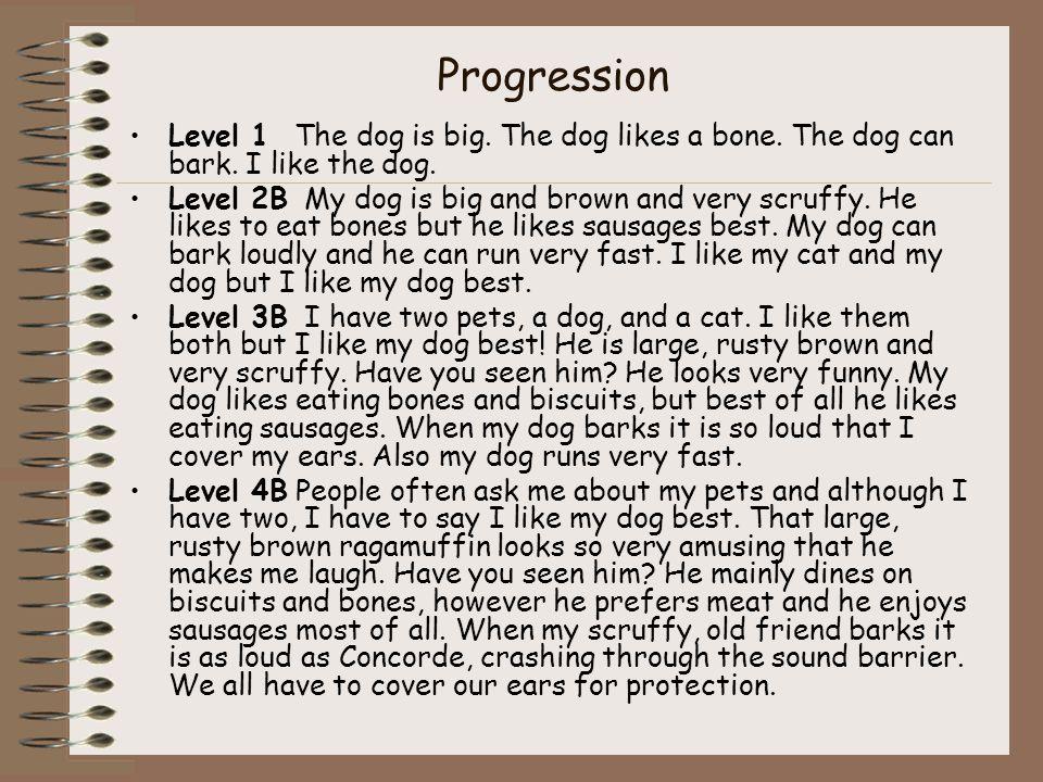 Progression Level 1 The dog is big. The dog likes a bone.