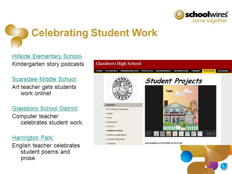 1 Hillside Elementary School- Kindergarten story podcasts Scarsdale Middle SchoolScarsdale Middle School: Art teacher gets students work online.