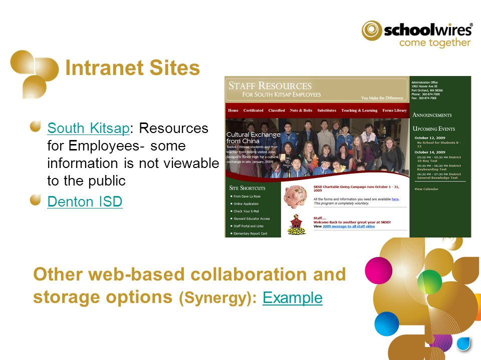 Intranet Sites South KitsapSouth Kitsap: Resources for Employees- some information is not viewable to the public Denton ISD Other web-based collaborat
