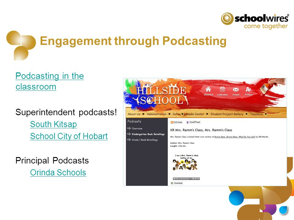 Engagement through Podcasting Podcasting in the classroom Superintendent podcasts! South Kitsap School City of Hobart Principal Podcasts Orinda School