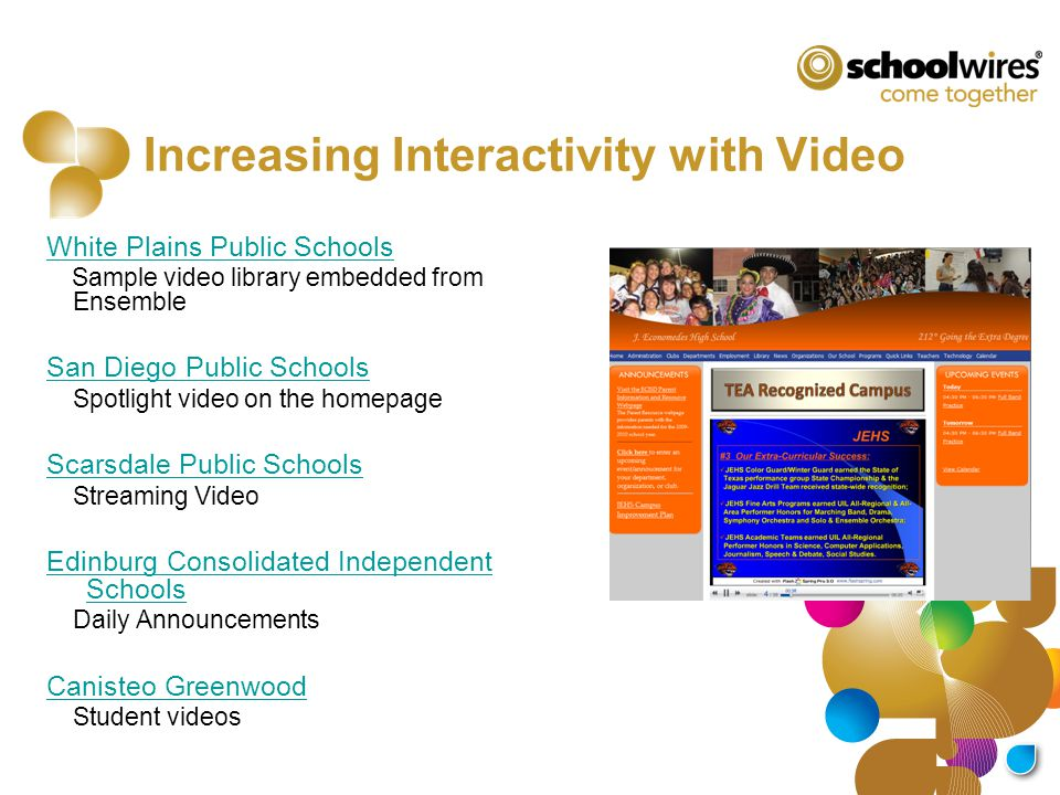 Increasing Interactivity with Video White Plains Public Schools Sample video library embedded from Ensemble San Diego Public Schools Spotlight video o