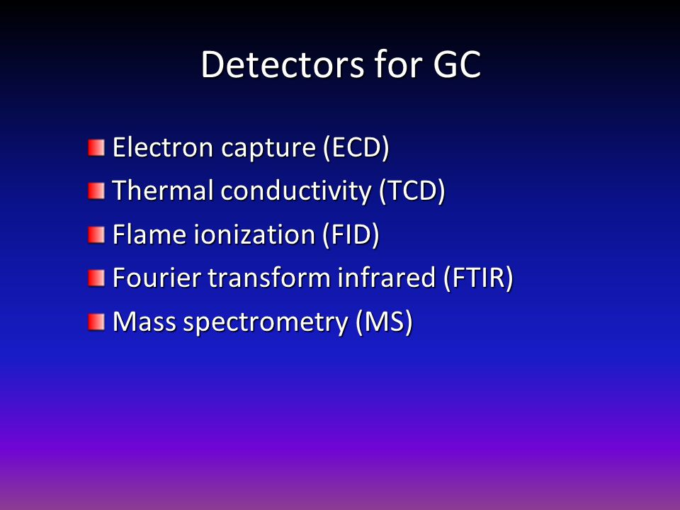 Detectors for GC Electron capture (ECD) Thermal conductivity (TCD) Flame ionization (FID) Fourier transform infrared (FTIR) Mass spectrometry (MS)