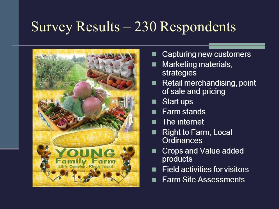 Survey Results – 230 Respondents Capturing new customers Marketing materials, strategies Retail merchandising, point of sale and pricing Start ups Farm stands The internet Right to Farm, Local Ordinances Crops and Value added products Field activities for visitors Farm Site Assessments