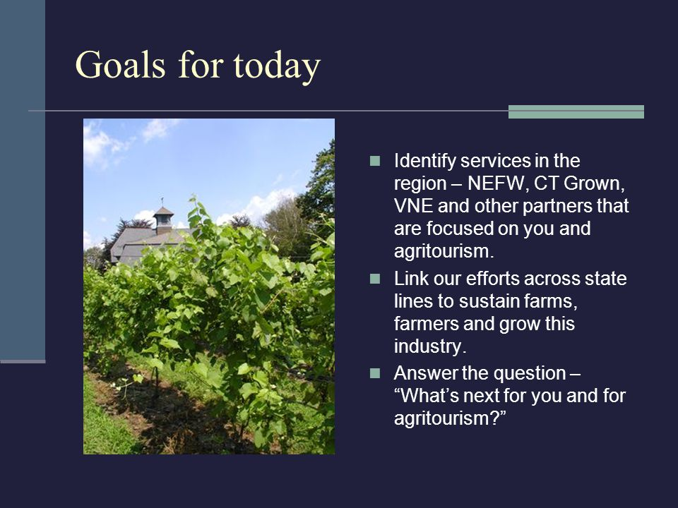Goals for today Identify services in the region – NEFW, CT Grown, VNE and other partners that are focused on you and agritourism.